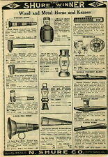 1924 PAPER AD Toy Metal Wood Horns Kazoos Noisemakers Crickets Bells