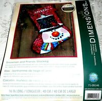 Dimensions Needlepoint Snowman And Friends Stocking 16