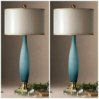 Two Rich Etched Frosted Cobalt Blue Glass Table Lamp Crystal Foot Brass Details