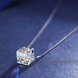 Lady-Silver-Plated-Cube-Crystal-Necklace-Chain-Rhinestone-Pendant-Jewelry-LA