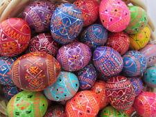 "Medium Assorted Wooden Painted Ukrainian Easter Eggs, Pysanky, Colorful, 1 1/2"""