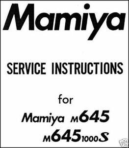 MAMIYA-M645-1000S-M-645-M645-1000S-Camera-Service-Manual-Repair-Instruction-CD