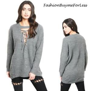 b84b1894a Haute BOHO Gray Gothic Oversized Ribbed Knit Sexy Lace up Sweater ...