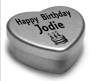 Happy Birthday Jodie Mini Heart Tin Gift Present For Jodie WIth Chocolates