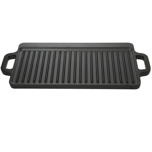 Cast Iron Reversible Grill Griddle Pan Hamburger Steak Stove Top Fry 16.5 x 9