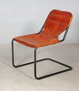 Design Stuhl Im Industrial Stil Aus Leder Und Metall