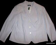 LAUREN Ralph Lauren BLAZER Womens PLUS 16W 16 1X White Light Blue Striped Jacket