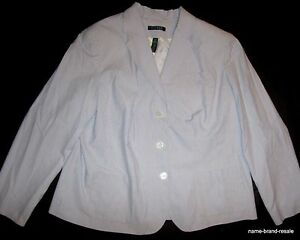 LAUREN-Ralph-Lauren-BLAZER-Womens-PLUS-16W-16-1X-White-Light-Blue-Striped-Jacket