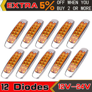 Details about 10 Pack Amber Thin Side Marker Lights Clearance 12 LED Chrome  For Freightliner