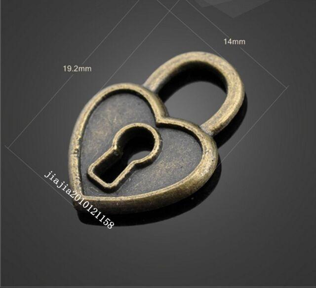 15PCS  Retro  Bronze Jewelry Accessories ( Peach heart Of The lock ) PJ529