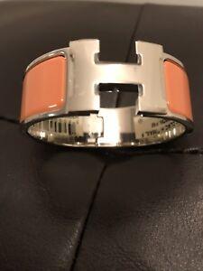 f9023b5a085c Authentic Hermes Clic Clac H Bracelet Rose Saumon Size PM Brand New ...
