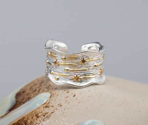 F04 Ring Sterling Silver 925 with Gold-Plated Stars Adjustable Size