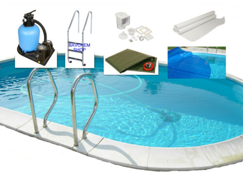 Stahlwandpool Poolset ensemble complet All-in-One ovale h120cm 0.8 mm diff tailles