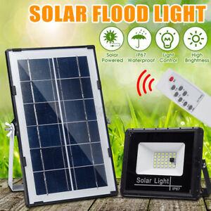 50W-LED-Lampione-Stradale-Faro-Pannello-Solare-Sensore-Luce-Faretto-Telecomando