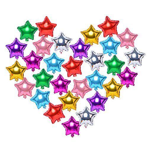 Confezione di 20 COLORI ASSORTITI 5 Stella Elio Stagnola Palloncini Per Matrimonio Compleanno Anniversario