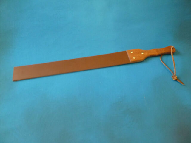 Heavy Leather Punishmen Strap wood handle 8mm thick 64mm x 690mm 2½
