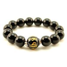 BLACK AGATE MALA 12mm Stone Prayer Bead Stretch Bracelet Sanskrit Om Mani Padme