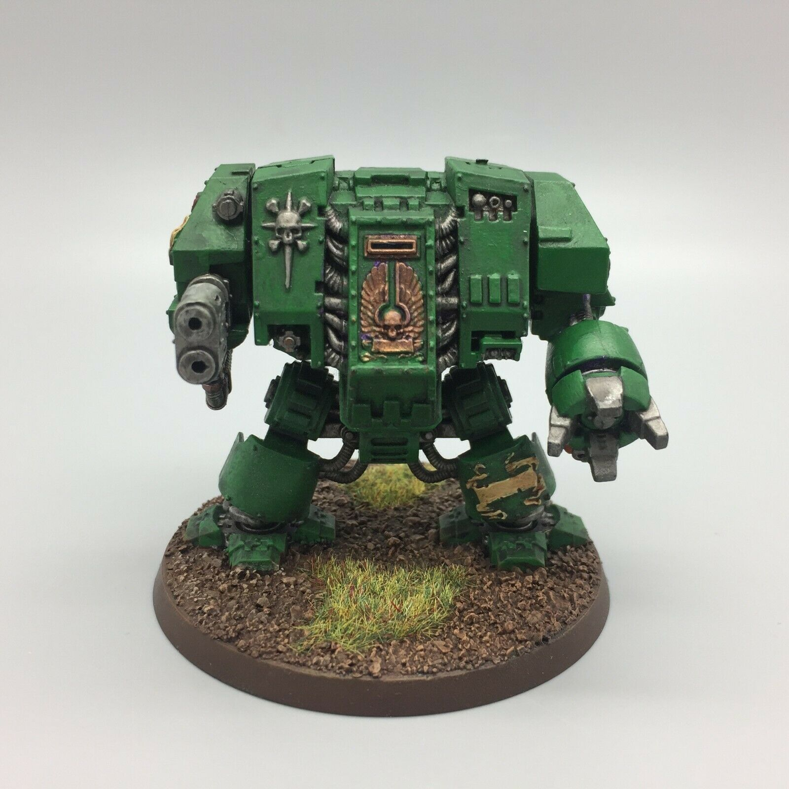 WARHAMMER 40,000 DARK ANGELS DREADNOUGHT PAINTED MULTI MELTA POWER FIST 40K