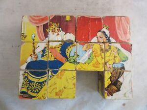 Vintage-wood-block-picture-puzzle-child-039-s-toy-Fairy-Tales