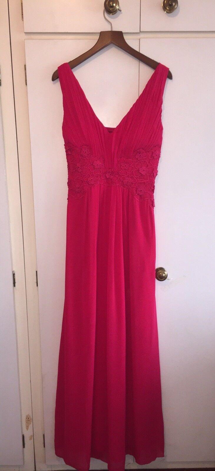 Little  Mistress Magenta vestido largo con detalle floral efecto de encaje Talla 12 BNWT  marca