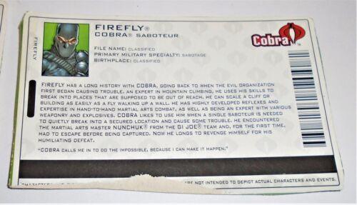 G I JOE File Card Filecard        2004 Firefly V11