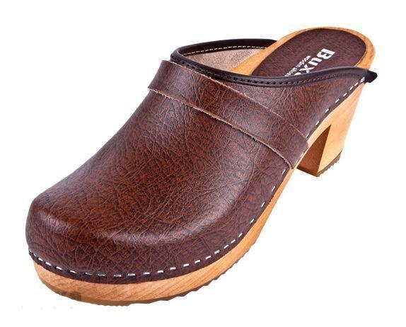 Zuecos De Madera De Cuero Marrón OS1 Colors EE. UU. Talla Zapato (mujeres)