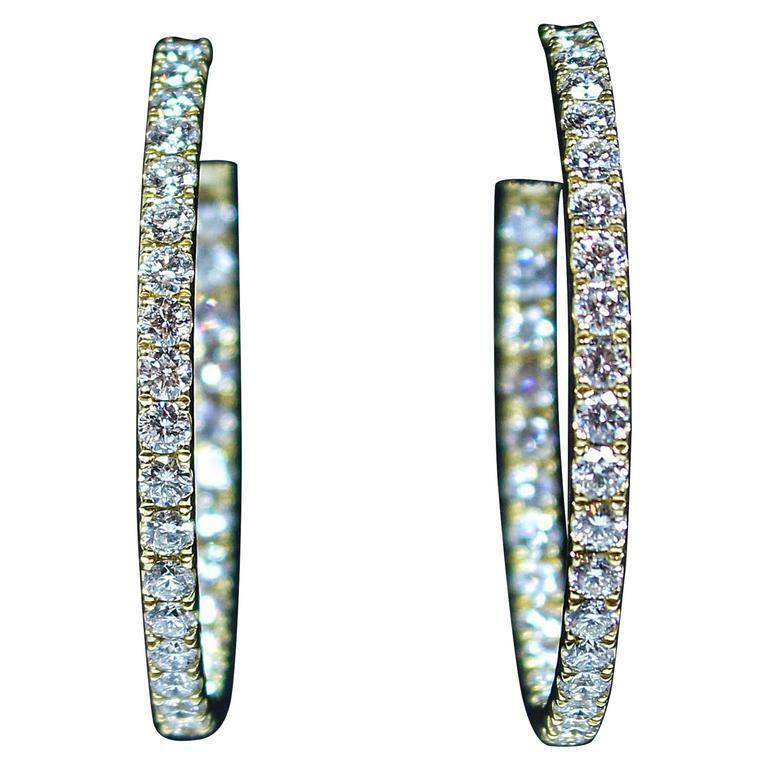 DIAMOND Stones with 18 Karat Yellow Gold Hoop Earrings