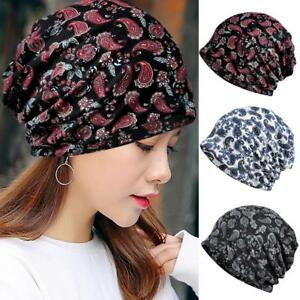 0c767e6b6a2 Image is loading Fashionable-Cashew-Flower-Pattern-Cotton-Print-Bean-Beanie-