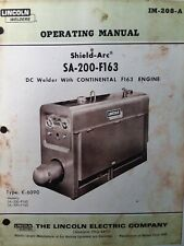 Lincoln Sa 200 Dc Gas Engine Welder Owner Parts Amp Service Manual Pipeliner 1968