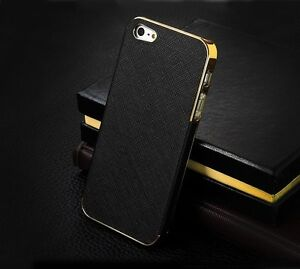 Luxury-Synthetic-Leather-Chrome-Hard-Back-Case-Cover-For-Apple-iPhone-4-4S-5-5S