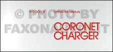 1972 Dodge Coronet And Charger Owners Manual Operators Guide Book Fits 1972 Charger