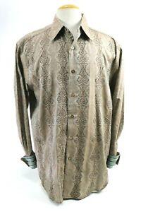 Robert-Graham-Men-039-s-Embroidered-Dress-Shirt-Flip-Cuff-Size-XL-Brown-Aqua-Blue