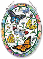 AMIA Stained Glass Suncatcher-Rainbows And Butterflies-Large Oval-New In Box