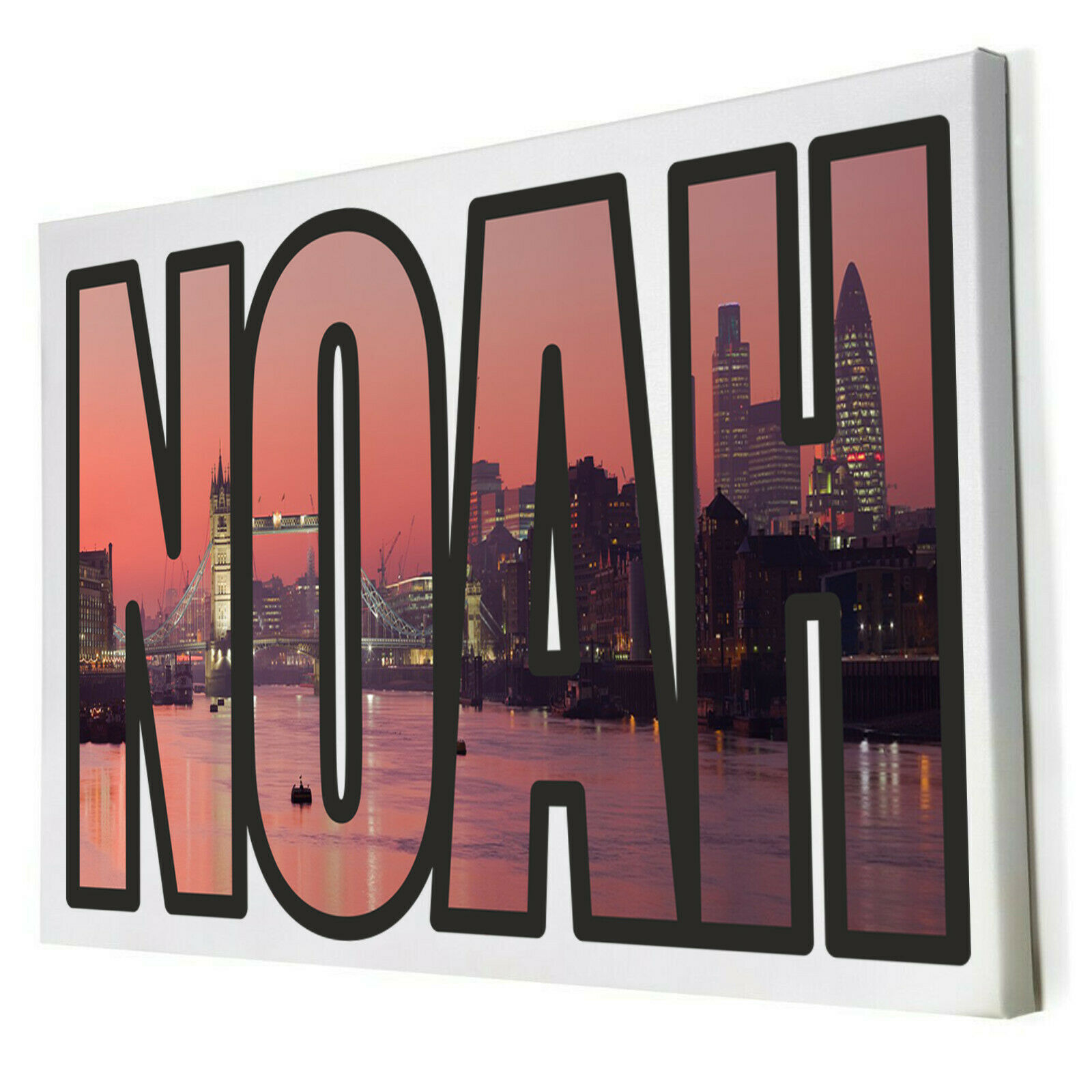 Border London City Personalised ANY Name Framed Canvas Bedroom Wall Decor