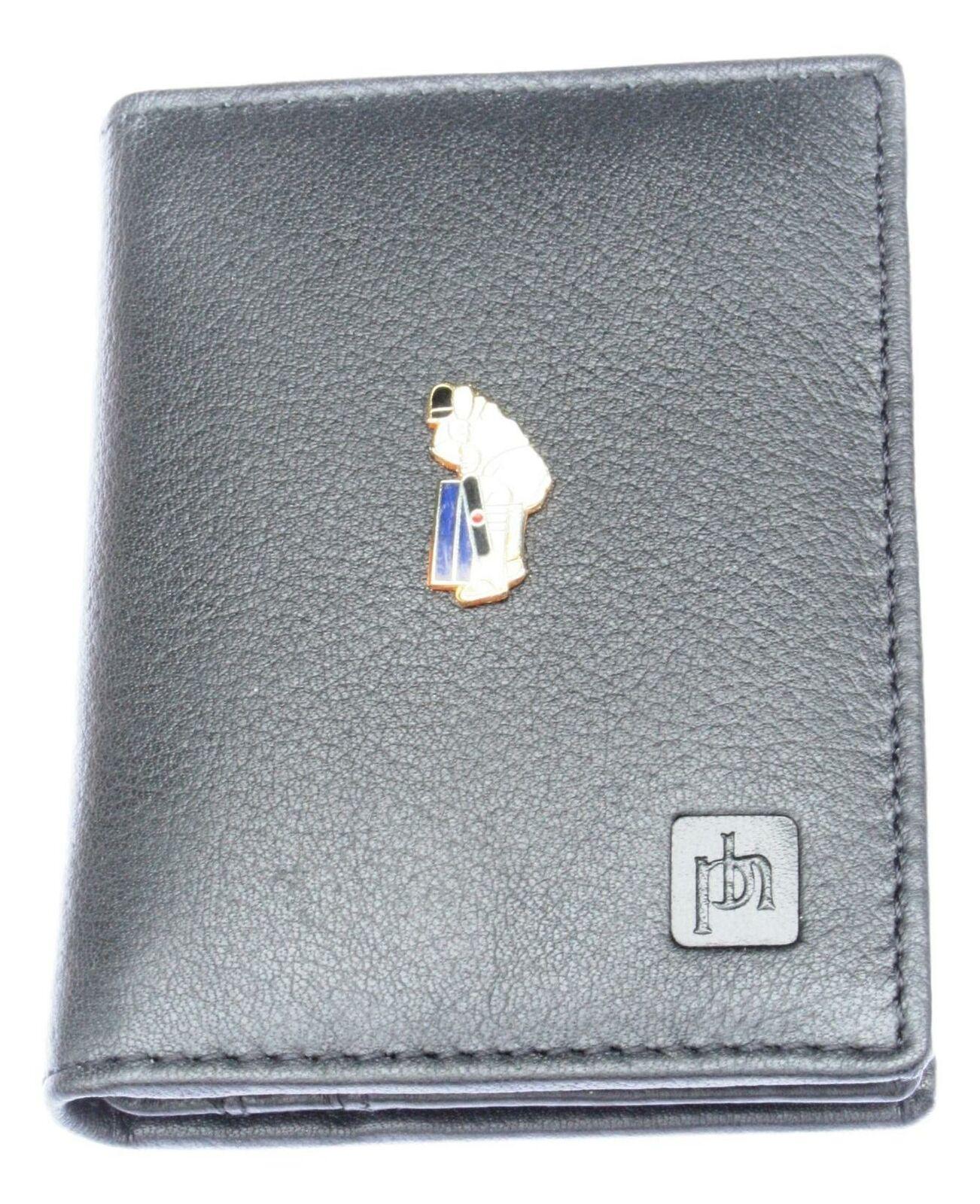 Cricketer Enamel Bifold Card Holder Leather Black Wallet RFID Safe 88