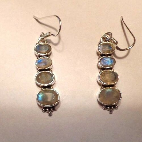 Dangley Hand Made Sterling Silver /& Rainbow Moonstone Ear Rings