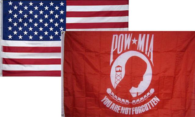 3x5 USA American Flag /& POW MIA Red POWMIA Flag 3/' x 5/' WHOLESALE LOT Flags