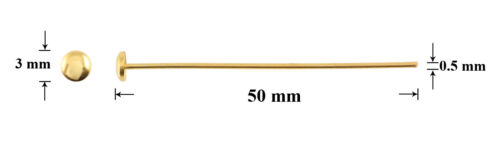 Jewellery Making Findings Sterling Silver Gold Plated Round Head Pins