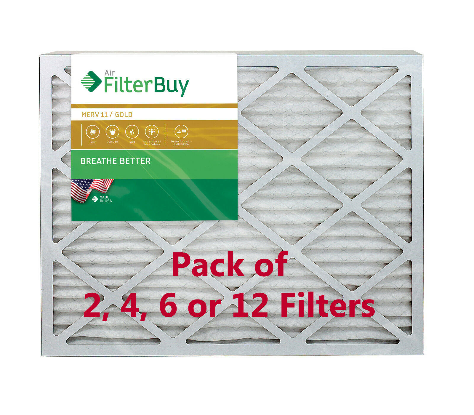 17-1//2 x 23-1//2 x 7//8 Box of 6 Actual Size 18x24x1 Merv 8 Pleated AC Furnace Air Filters