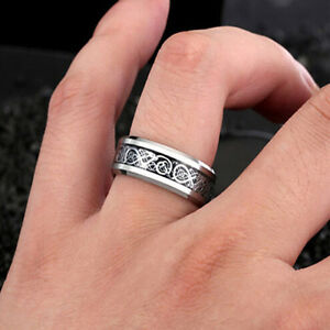 Fashion-Men-039-s-Silver-Celtic-Dragon-Titanium-Stainless-Steel-Wedding-Band-Rings-f