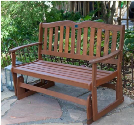 Outdoor Wooden Bench Glider Rocking Gliding Porch Love Seat Garden Patio Chair Ebay
