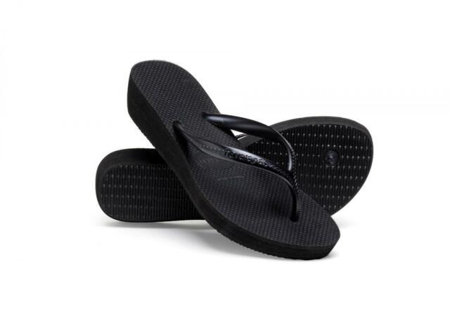 dc67eeeda8 Havaianas H High Light Women's Black Slip on Wedge Heel Toe Post ...