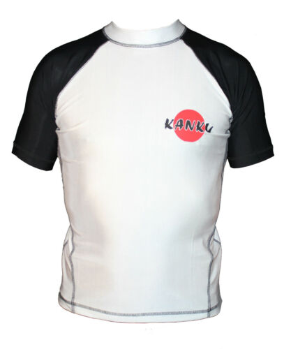 MMA Blue Fitness Black BJJ KANKU Short Sleeve Rash guard White Brown
