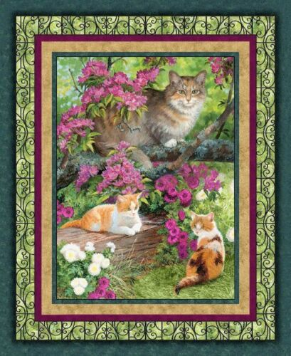 Simple Pleasures Cats Panel Quilting Cotton Fabric