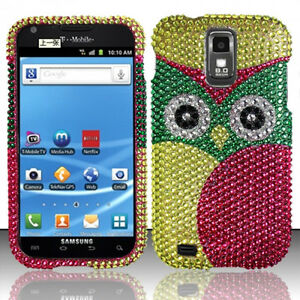 For-T-Mobile-Samsung-Galaxy-S-II-2-T989-Crystal-BLING-Hard-Case-Cover-Green-Owl