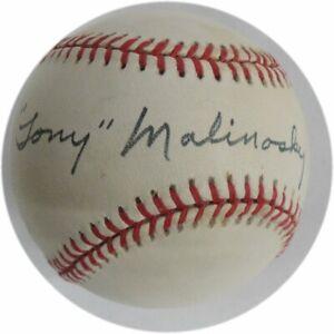 Tony-Malinosky-Hand-Signed-Autographed-MLB-Baseball-Brooklyn-LA-Dodgers-Blue