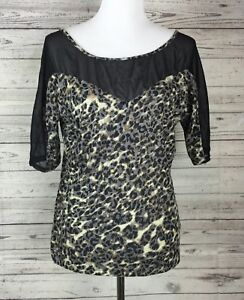 Express-Women-039-s-Animal-Print-Sheer-Short-Sleeve-Knit-Top-Blouse-Size-Small