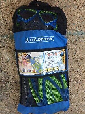 Divers PROFLEX blue//gray Snorkel and Fins Set,Size YOUTH S 4-7 EUC U.S