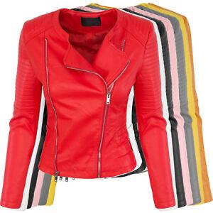 155ec628d2a50 Details zu Designer Damen Kunstleder Jacke Übergangs Jacke Bikerjacke  leicht S-XL NEU D-392