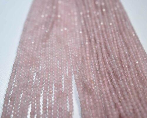 """08-619 Rose Quartz Natural Gemstone Round Faceted Loose Bead 2.30mm 12.5/"""" 1 Line"""